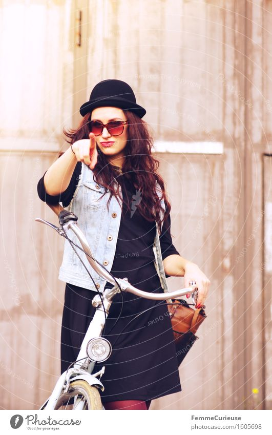 Human being Woman Youth (Young adults) Young woman Calm 18 - 30 years Adults Funny Feminine Style Lifestyle Leisure and hobbies Bicycle Uniqueness Fingers