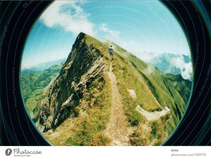 Mountain Lanes & trails Hiking Dangerous Threat Switzerland Climbing Lomography Peak Fisheye Risk Mountaineering Narrow Mountain ridge Holga
