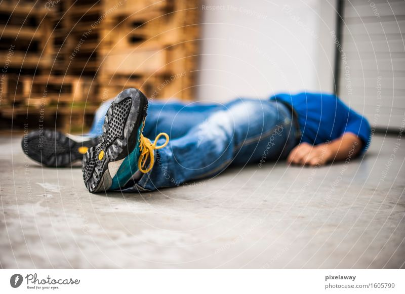 unconscious man after fatal accident Human being Healthy Health care Help First Aid Rescue Emergency Medical treatment Assistant Emergency call Unconscious Heart attack