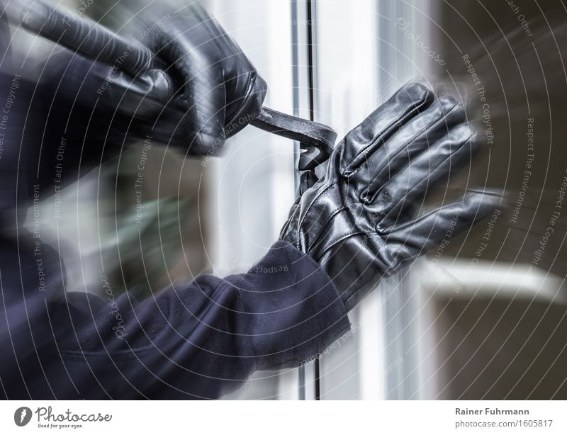 "A burglar pokes up a window. Human being Arm 1 Aggression Threat Might Fear Dangerous Destruction ""Burglary burglars delinquent felonies Force law crowbar"