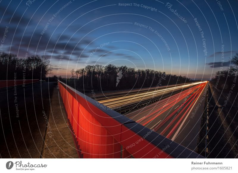 The Berlin Ring in the late evening dusk Tourism Bridge Transport Traffic infrastructure Road traffic Motoring Highway Vacation & Travel Looking Blue Red