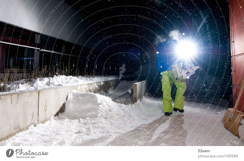 Let's Do it Snowboard Winter Light Night Action Going Human being Back-light Flare Carrying Snowboarder Snowfall Evening Home 1 Exterior shot Colour photo