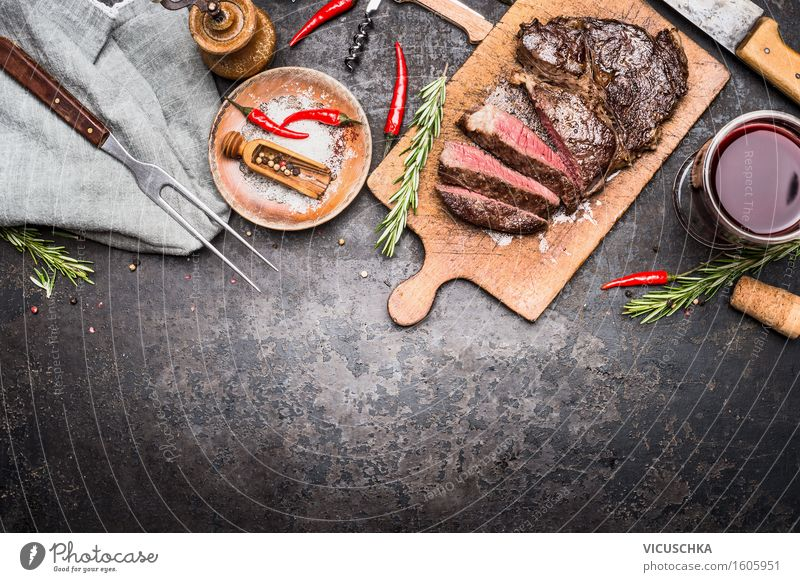 Sliced grill steak on cutting board with wine and spices Food Meat Herbs and spices Nutrition Dinner Picnic Organic produce Beverage Alcoholic drinks Wine