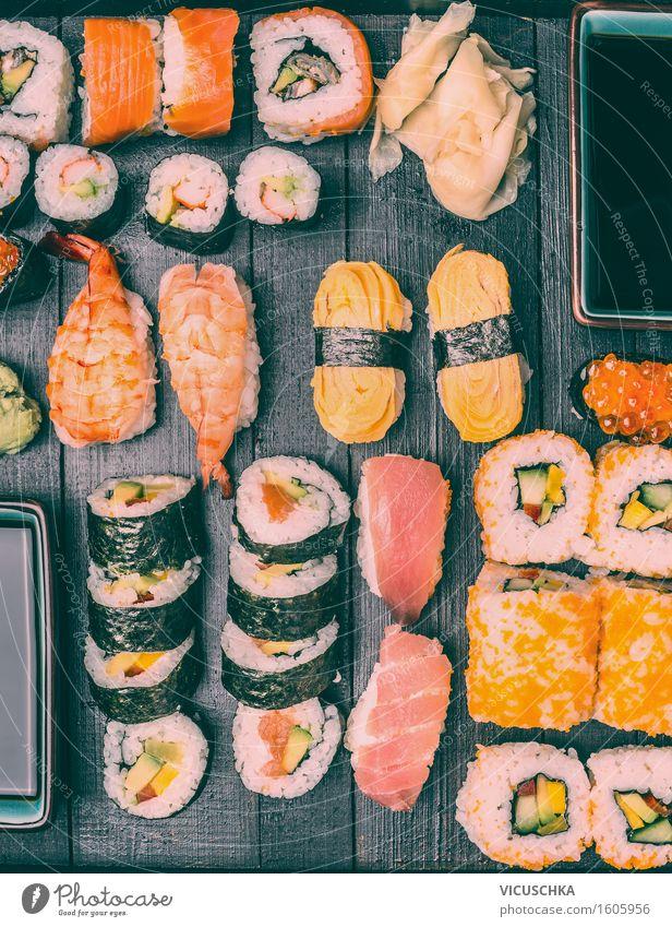 Sushi Menu Nutrition Asian Food Bowl Style Design Healthy Eating Table Restaurant Retro Japan Lemur Dish Shrimps set Selection Dark nigiri Sauce Soya sauce