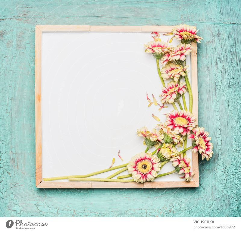 Empty white board and pretty flowers Style Design Summer Living or residing Interior design Decoration Feasts & Celebrations Valentine's Day Mother's Day