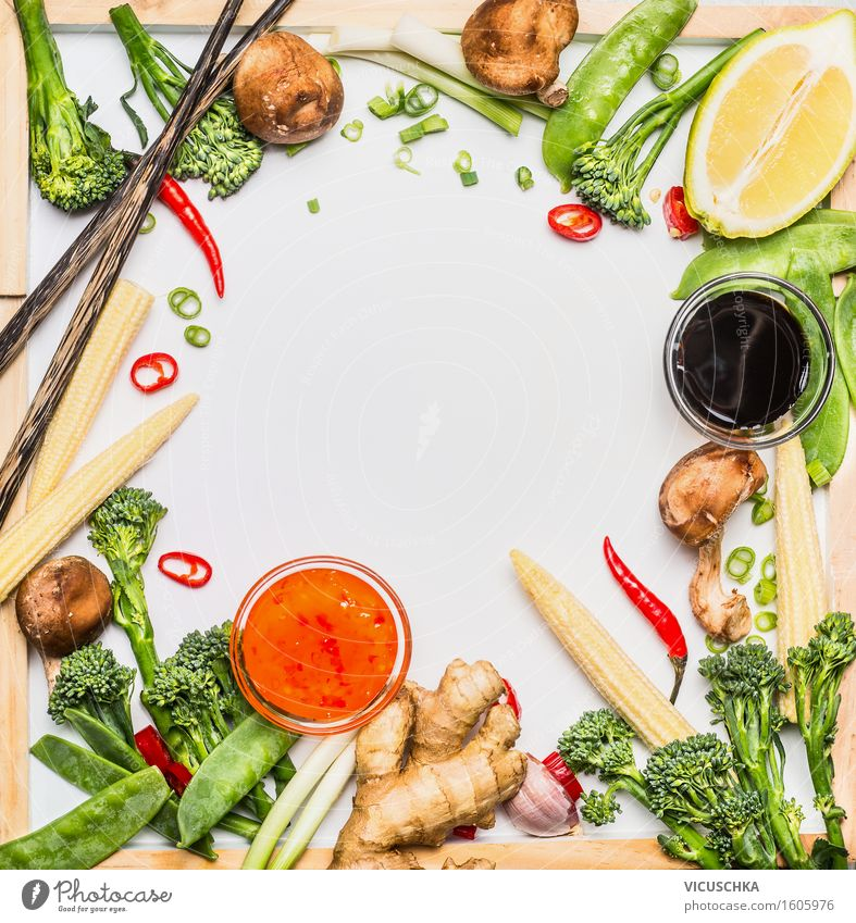 Traditional Asian Vegetables Ingredients for Cooking Food Lettuce Salad Herbs and spices Cooking oil Lunch Dinner Buffet Brunch Organic produce Vegetarian diet