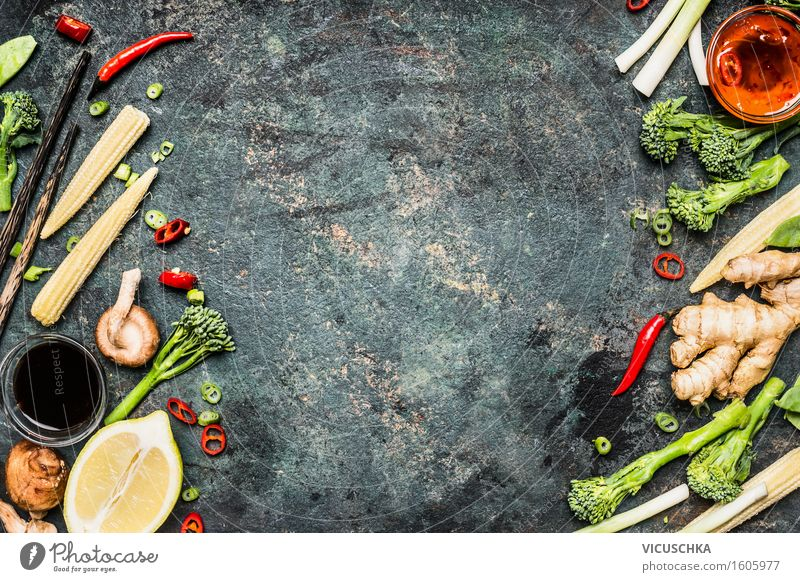 Vegetables and spices for delicious Chinese or Thai cuisine Food Herbs and spices Cooking oil Nutrition Banquet Organic produce Vegetarian diet Diet Asian Food