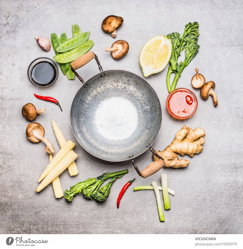 Wok pan and ingredients for Asian cuisine Food Vegetable Lettuce Salad Herbs and spices Cooking oil Nutrition Lunch Dinner Banquet Organic produce
