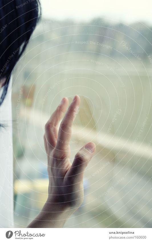 Hand Window Emotions Glass Wait Observe Vantage point Longing