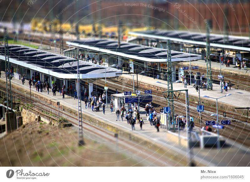 ut köln | platform düx Human being Crowd of people Town Train station Train travel Commuter trains Platform Wait Vacation & Travel Tourism Means of transport