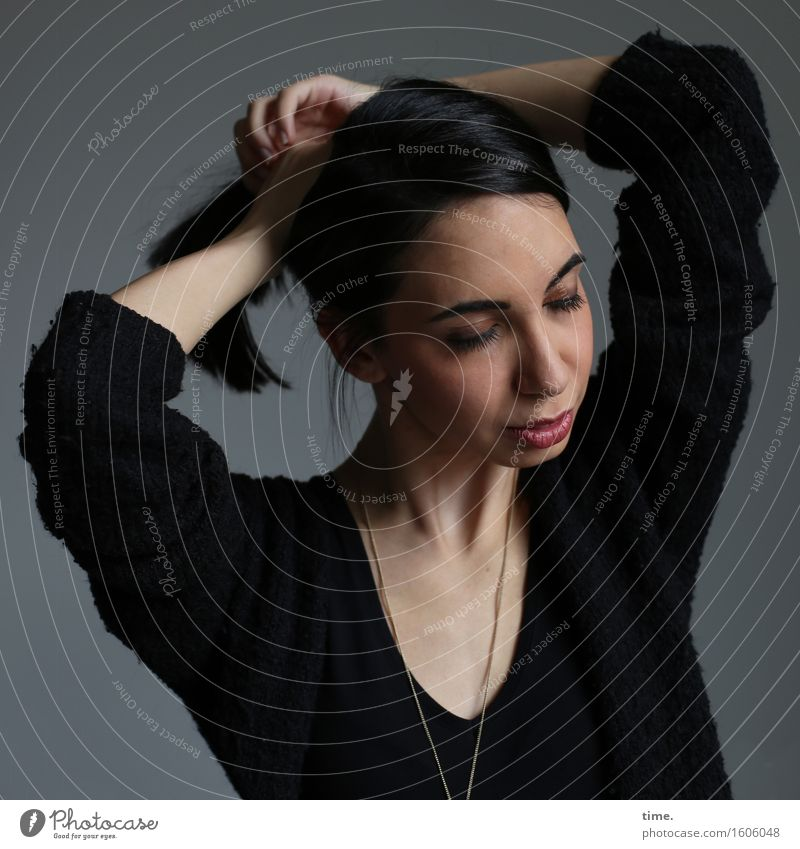 . Feminine 1 Human being Sweater Jewellery Necklace Black-haired Long-haired To hold on Passion Watchfulness Conscientiously Caution Serene Patient Calm