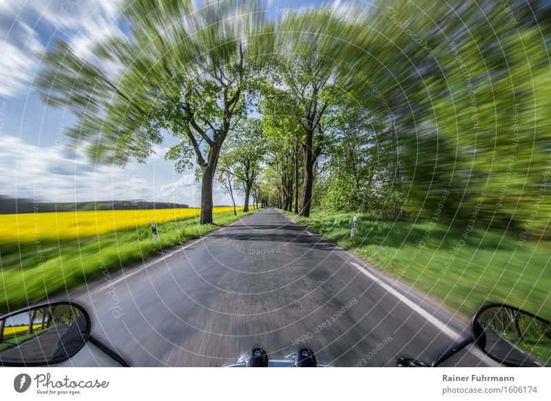 A ride with the motorcycle through a spring landscape Joy Leisure and hobbies Trip Motorsports Landscape Sky Clouds Spring Beautiful weather Transport