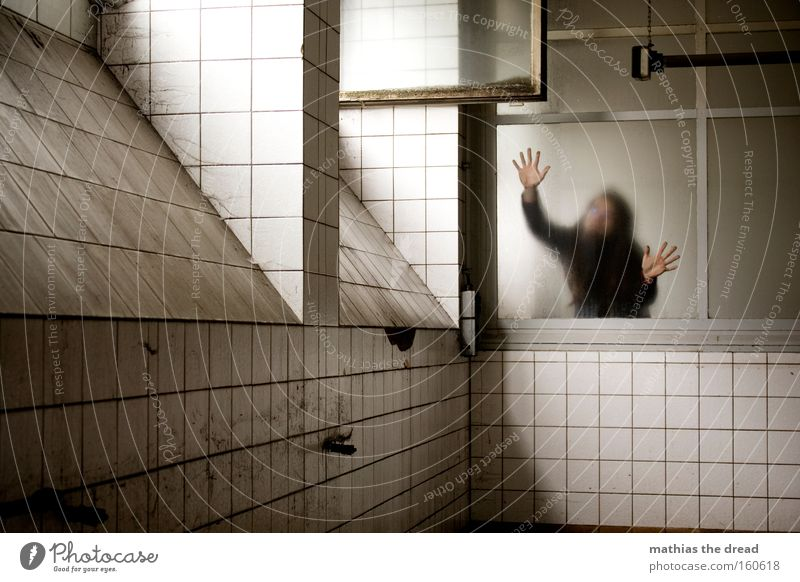 Human being Man Hand Dark Bright Room Fear Architecture Arm Glass Gloomy Threat Derelict Window pane Panic
