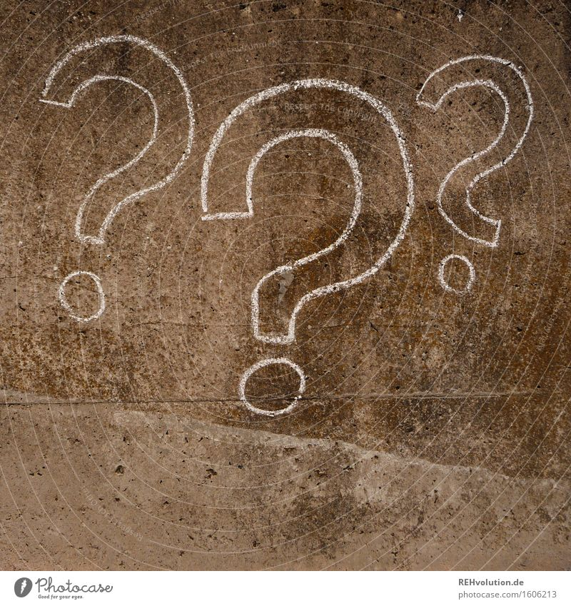 3 question mark Concrete Draw Ask Question mark Sign Symbols and metaphors Puzzle Mysterious Unclear Chalk Creativity Painting (action, artwork) Art