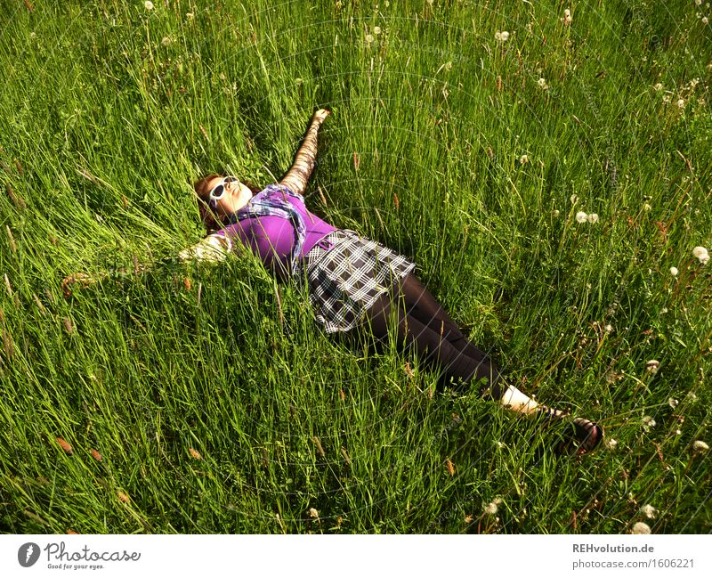 rest Human being Feminine Young woman Youth (Young adults) 1 18 - 30 years Adults Nature Plant Meadow Lie Free Hip & trendy Natural Green Joy Happy Contentment