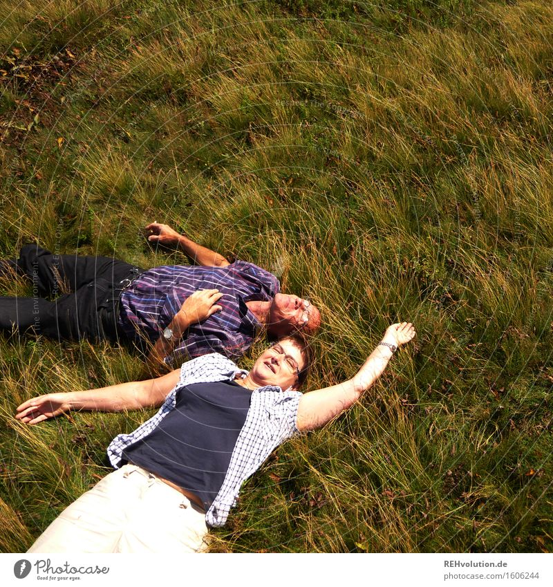 Human being Woman Nature Man Old Plant Green Relaxation Landscape Joy Adults Environment Meadow Grass Feminine Healthy
