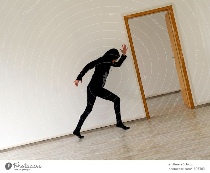 late Remix | Rise Human being Wall (barrier) Wall (building) Tights Hooded sweater Walking Black White Speed Society Room Empty Sterile Bright Movement Effort