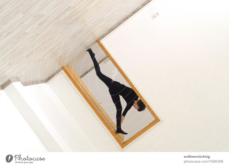 Woman White Black Adults Wall (building) Movement Sports Wall (barrier) Bright Jump Fear Door Crazy Perspective Tilt To fall