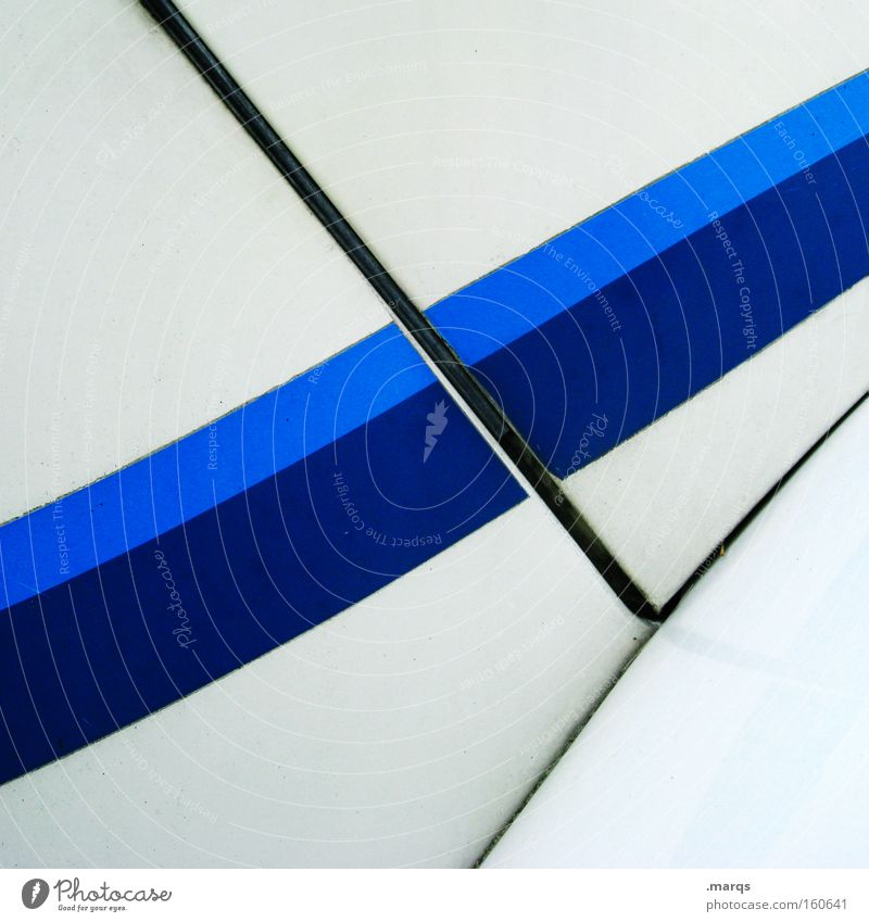 Rennstreifen Colour photo Exterior shot Structures and shapes Copy Space top Copy Space bottom Varnish Metal Line Stripe Elegant Clean Blue White Optimism