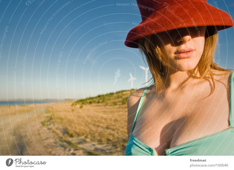 Woman Youth (Young adults) Beautiful Summer Beach Eroticism Warmth Sand Blonde Hot Hat Bikini Portrait photograph