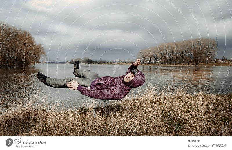 Wind Man Water Meadow Landscape Flying Human being River Gale Hover Hero Brook False Elbe Superman Environment