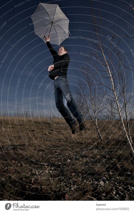 soft landing Sky Blue Meadow Brown White Man Jump Crash Playing Umbrella
