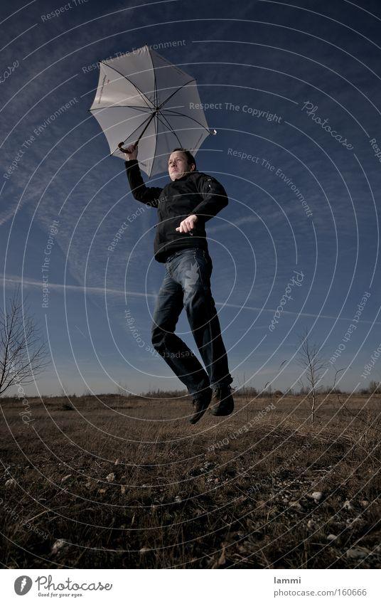 soft landing II Sky Blue Meadow Brown White Man Jump Crash Playing Umbrella