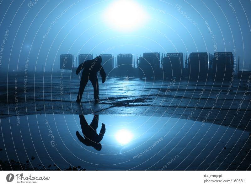 Water Blue Black Loneliness Dark Fog Concrete Mirror Truck Creepy Puddle Dreary Saxony-Anhalt Altmark