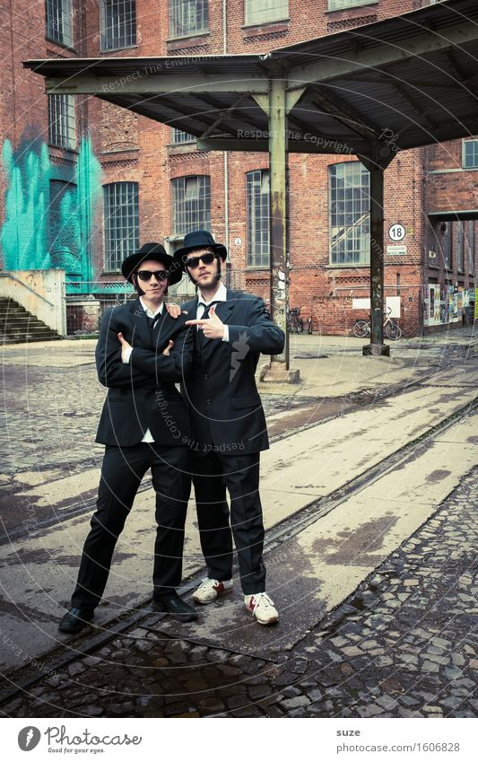 Human being Man Adults Funny Couple Friendship Masculine Music Crazy Retro Cool (slang) Team Carnival Hat Film industry Trashy