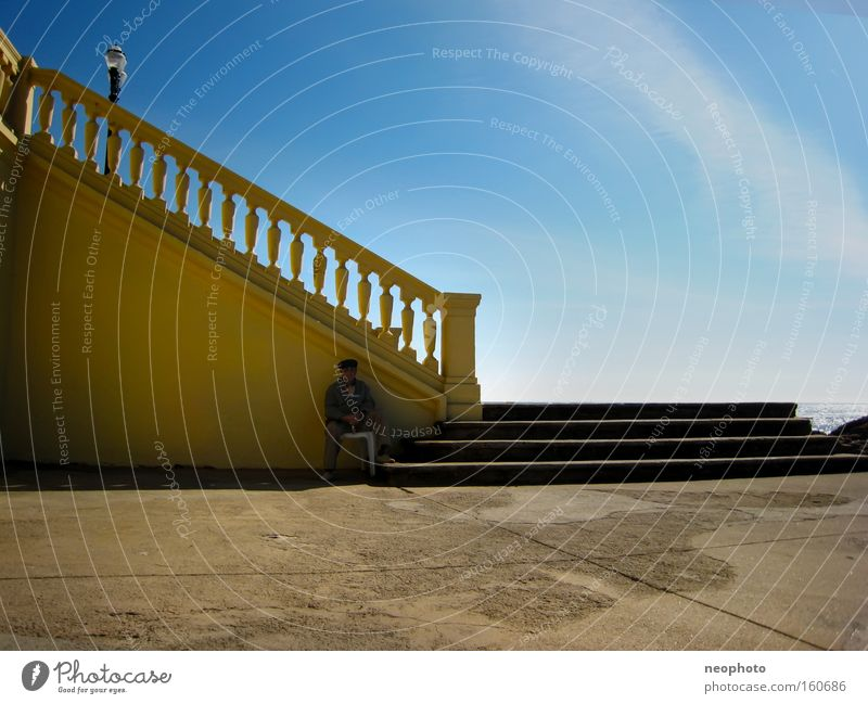 Sky Man Ocean Summer Beach Calm Freedom Senior citizen Happy Stone Stairs Peace Retirement Portugal Retirement pension