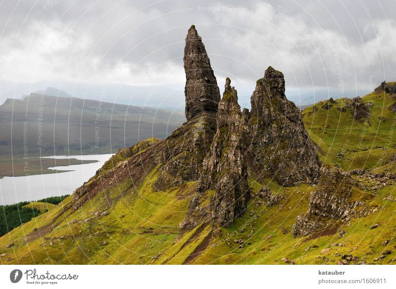 old man of storr Nature Landscape Earth Clouds Bad weather Hill Rock Lake Hiking Tall Point Adventure Loneliness Surrealism Scotland Isle of Skye scooter fish