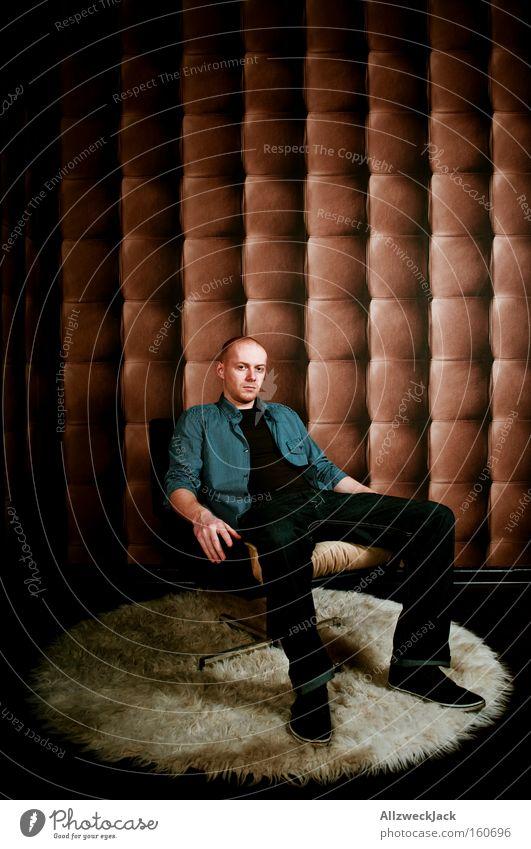 Man Calm Contentment Wait Design Sit Retro Chair Peace Serene Wallpaper Boredom Leather Noble Armchair Carpet
