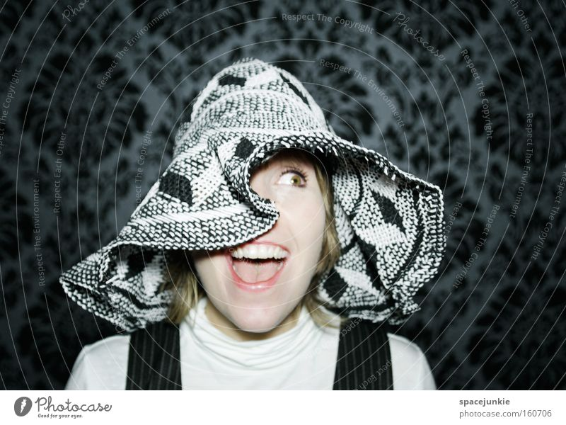 Woman Joy Feminine Head Retro Wallpaper Hat Captured Amazed Frightening