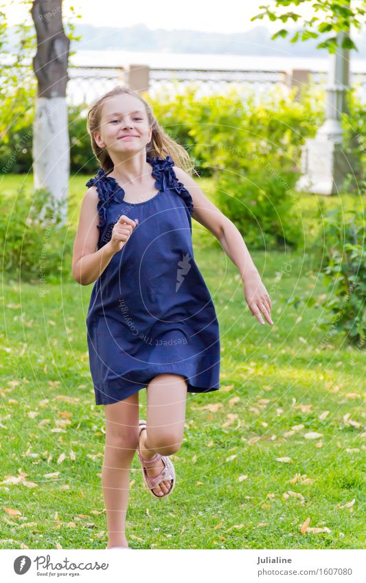 Cute running European girl Human being Woman Child Blue Summer White Girl Adults Lifestyle Playing Leisure and hobbies Action Blonde Infancy 8 - 13 years