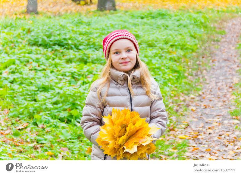 Photo of girl with bouquet from sheets Herbs and spices Child Schoolchild Girl Woman Adults Infancy 1 Human being 3 - 8 years 8 - 13 years Plant Autumn Leaf Hat