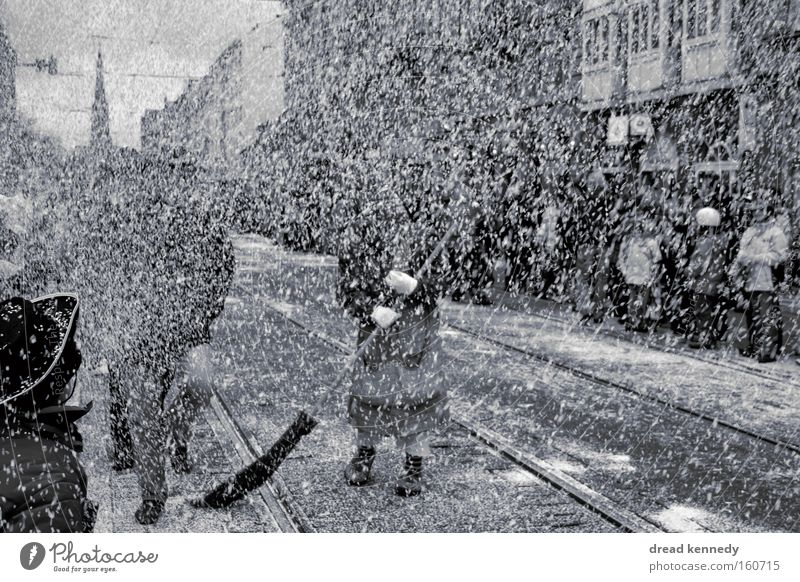 Confetti In White Black & white photo Exterior shot Day Central perspective Feasts & Celebrations Carnival Audience Group of children Crowd of people Event