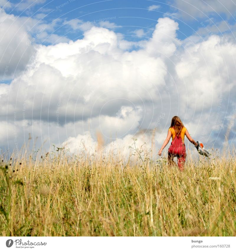 Woman Sky Summer Vacation & Travel Clouds Meadow Grass Going Walking Seasons Exuberance