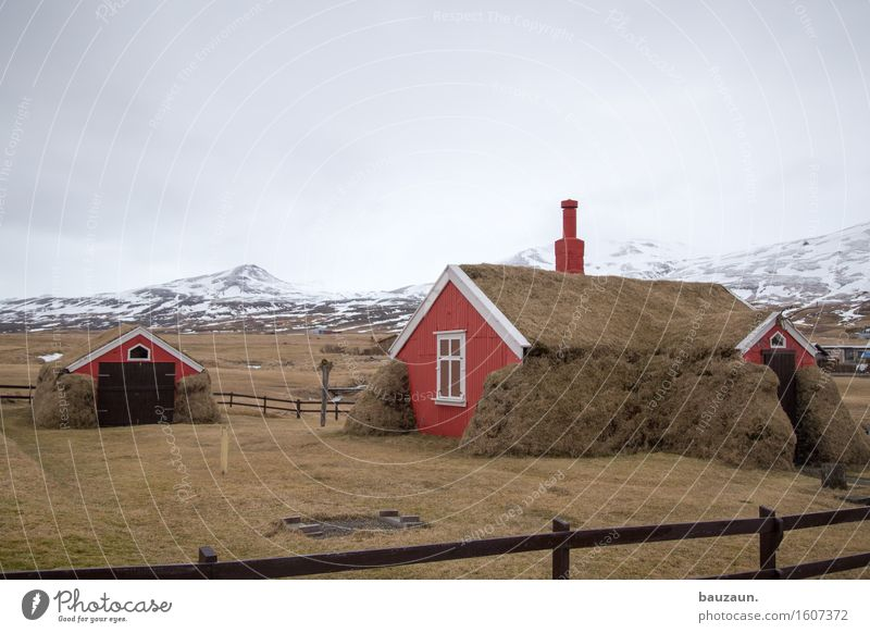 Nature Vacation & Travel Landscape Clouds House (Residential Structure) Far-off places Winter Window Mountain Environment Wall (building) Grass Snow Wall (barrier) Garden Freedom