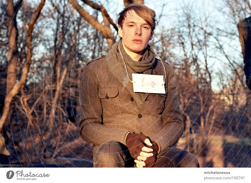 Careful, come on. Youth (Young adults) Futile Insecure Winter Cold Shadow Old Coat Young man Forest Feeble Warmth