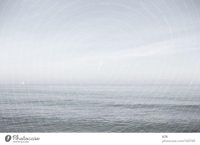 Water Ocean Beach Calm Cold Lake Coast Glittering Horizon Sailing Barcelona Sailboat Spain Shallow