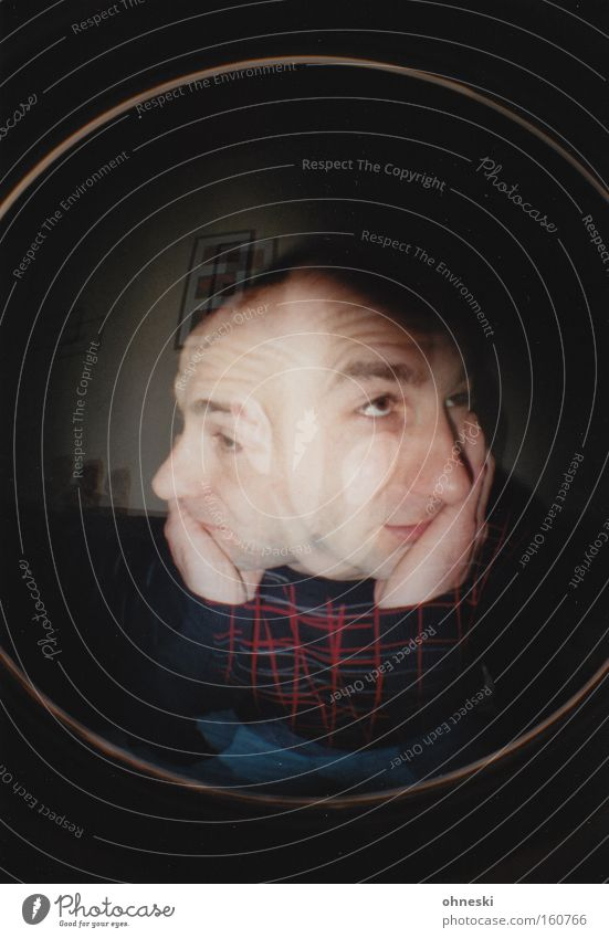 Man Face Sadness Think Grief Fatigue Meditative Boredom Thought Lomography Double exposure Left Right Orientation Support Indecisive