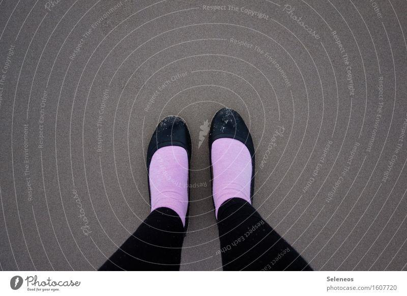 piggy feet Vacation & Travel Beach Human being Woman Adults Life Feet 1 Coast Ocean Stockings Ballerina Stand Pink Colour photo Exterior shot Copy Space top