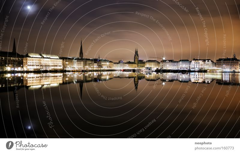 Beautiful Night Calm Hamburg Culture Monument Dynamics Moon Sporting event Landmark Downtown Competition Body of water Alster