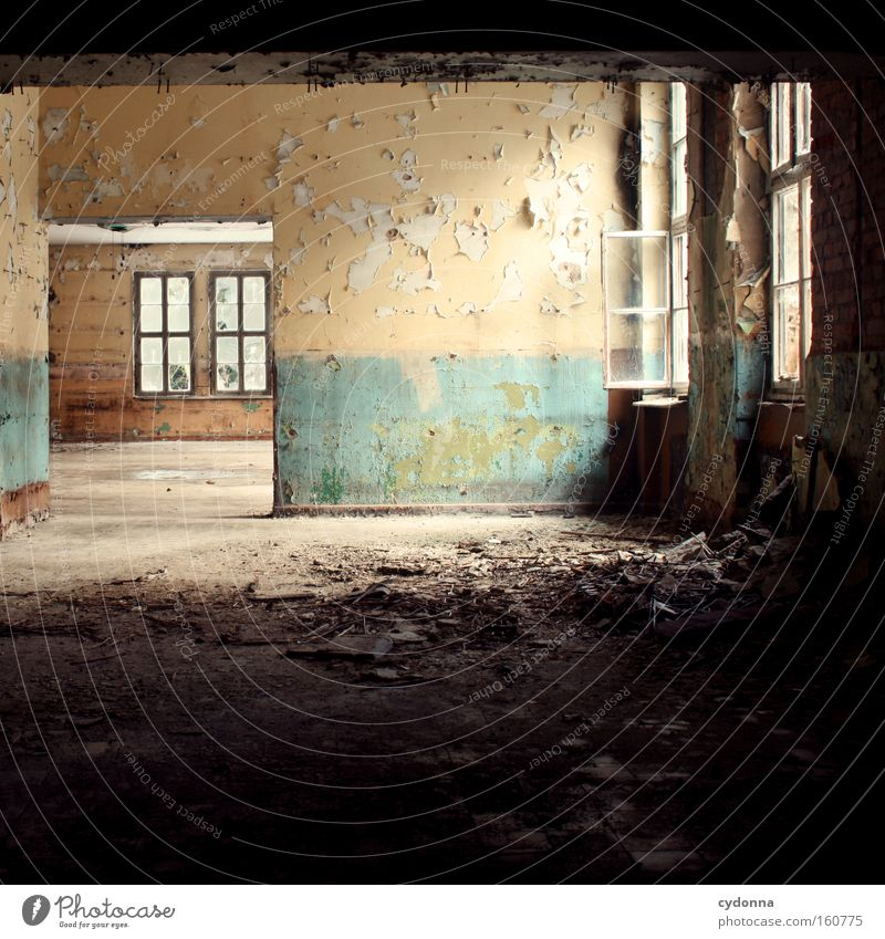 void Window Room Location Decline Vacancy Light Transience Time Life Memory Open Destruction Old Colour Wallpaper Uninhabited Derelict Living or residing venues