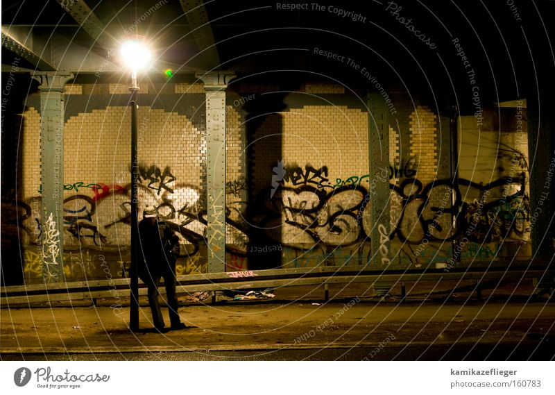 waiting Night Dark Underpass Bridge Berlin Neukölln Man Stand Wait Lantern Light Shadow Graffiti Column Tile Street Boredom Mural painting