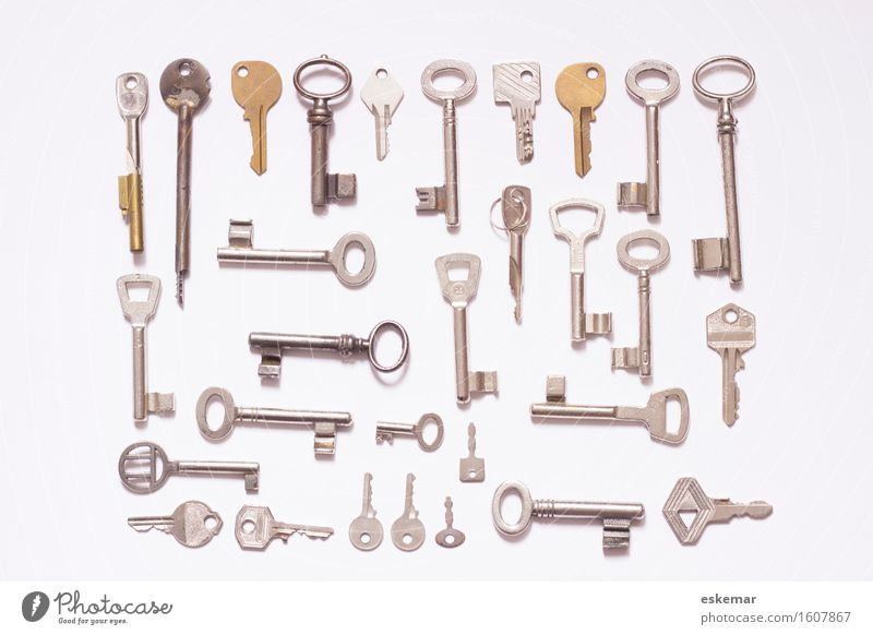 key Sign Key Esthetic Modern Above Many Gold Silver White Arrangement Safety Copy Space knolling flat lay supervision Difference Colour photo Subdued colour