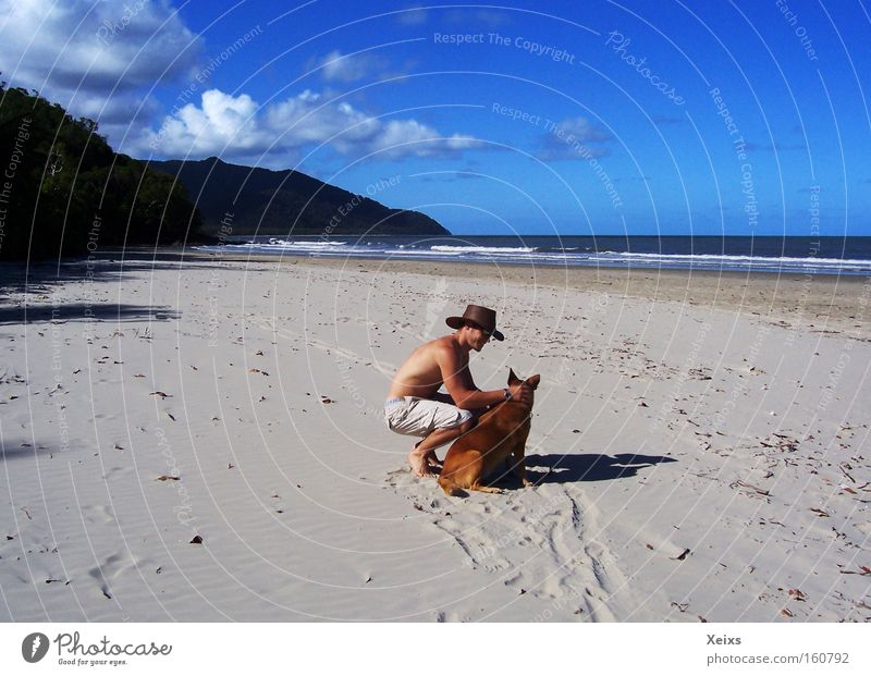 Human being Sky Blue Summer Beach Vacation & Travel Clouds Mountain Dog Sand Waves Hat Virgin forest Australia