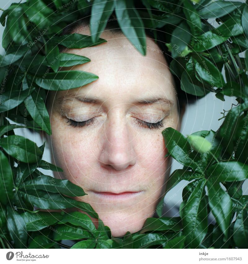 roundabout Lifestyle Style Beautiful Face Harmonious Well-being Senses Relaxation Calm Meditation Woman Adults 1 Human being 30 - 45 years Plant Leaf