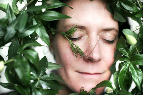 Human being Woman Plant Green Beautiful Flower Face Adults Life Love Emotions Contentment Idyll To enjoy Smiling Circle
