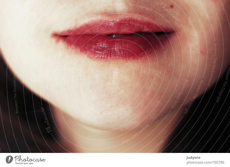 Woman Beautiful Red Adults Mouth Romance Soft Lips Near Delicate Kissing Cosmetics Apply make-up Lipstick